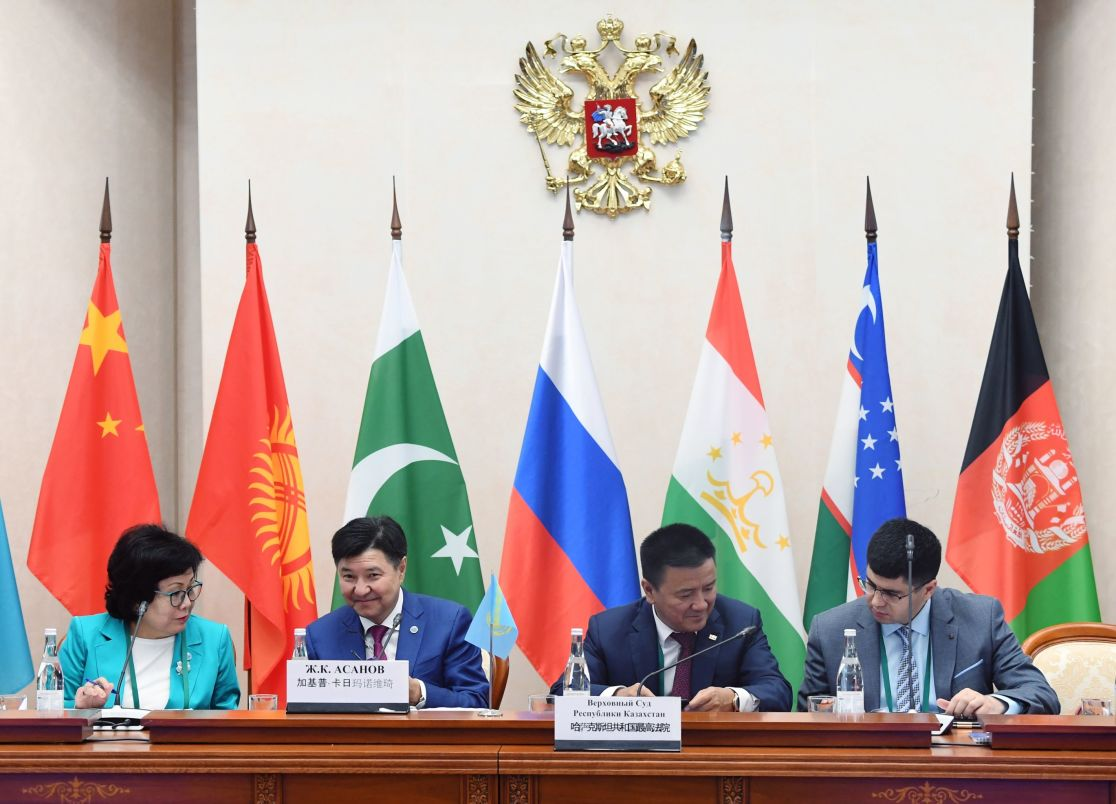 Participants in the 14th Meeting of Supreme Court Chief Justices of the Shanghai Cooperation Organisation (SCO) Member States. Second left: Chief Justice of the Supreme Court of Kazakhstan Zhakip Asanov