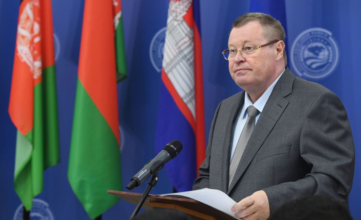 Russian Presidential Plenipotentiary Envoy to the Southern Federal District - former Justice Minister Vladimir Ustinov speaking at the opening of the 14th Meeting of Supreme Court Chief Justices of the Shanghai Cooperation Organisation (SCO) Member States