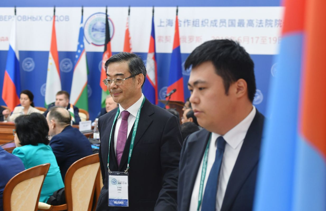 Chief Justice and President of the Supreme People's Court of China Zhou Qiang, centre, at the 14th Meeting of Supreme Court Chief Justices of the Shanghai Cooperation Organisation (SCO) Member States