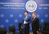 Председатель Верховного суда Республики Казахстан Жакип Асанов (слева) и председатель Верховного Суда РФ Вячеслав Лебедев на совещании председателей верховных судов государств-членов ШОС (Шанхайской организации сотрудничества) в Сочи