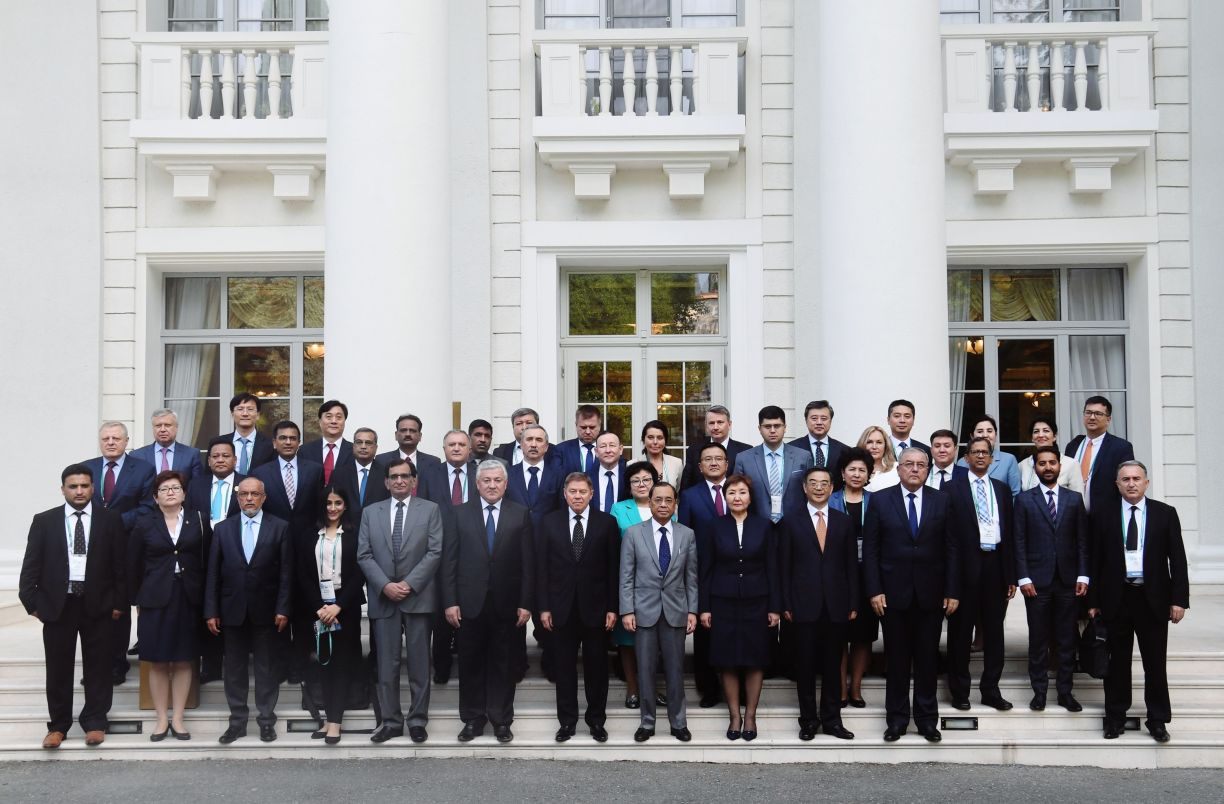 The 14th Meeting of Supreme Court Chief Justices of the Shanghai Cooperation Organisation (SCO) Member States. Seventh left, first row: Chief Justice of the Supreme Court of Russia Vyacheslav Lebedev.
