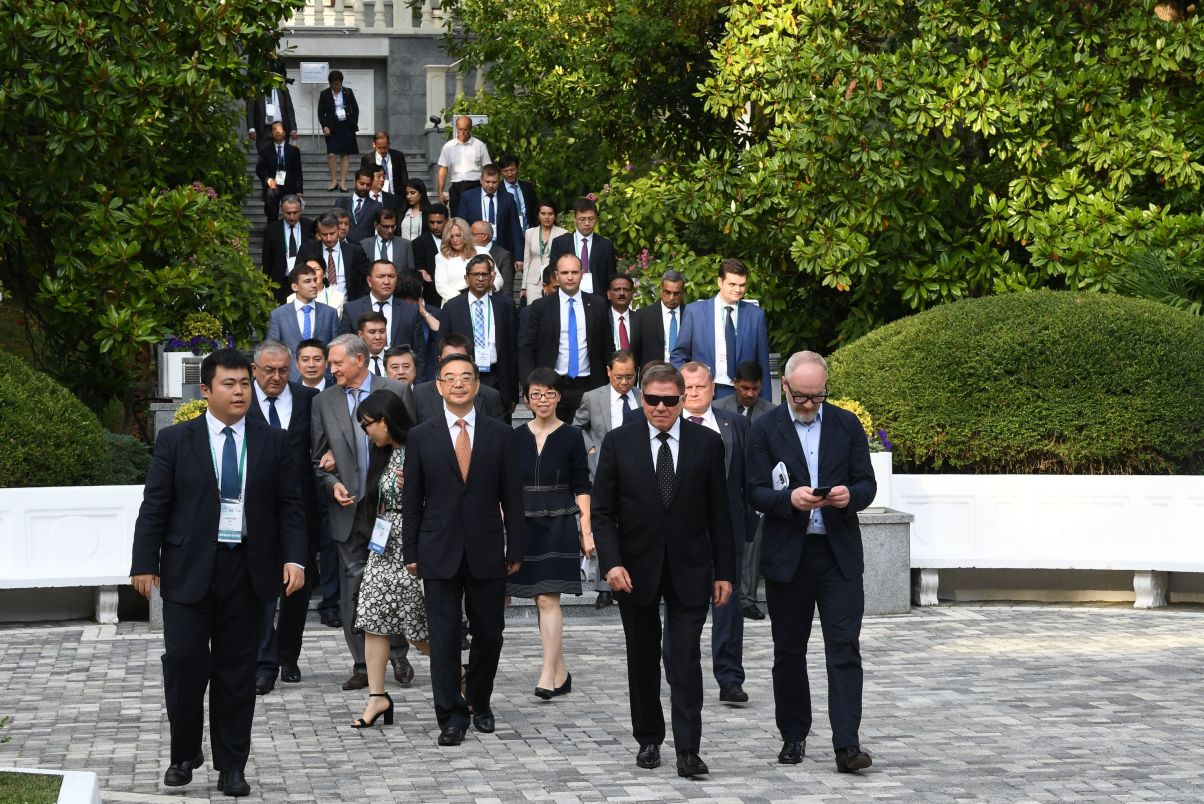 The 14th Meeting of Supreme Court Chief Justices of the Shanghai Cooperation Organisation (SCO) Member States. First row, second right: Chief Justice of the Supreme Court of Russia Vyacheslav Lebedev; center: Chief Justice and President of the Supreme People's Court of China Zhou Qiang.