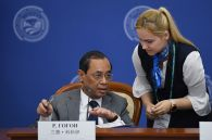 Chief Justice of the Supreme Court of India Ranjan Gogoi during the signing of a joint statement following the 14th Meeting of Supreme Court Chief Justices of the Shanghai Cooperation Organisation (SCO) Member States.