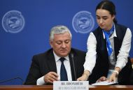 Chief Justice of the Supreme Court of Tajikistan Shermuhammad Shokhiyon during the signing of a joint statement following the 14th Meeting of Supreme Court Chief Justices of the Shanghai Cooperation Organisation (SCO) Member States.
