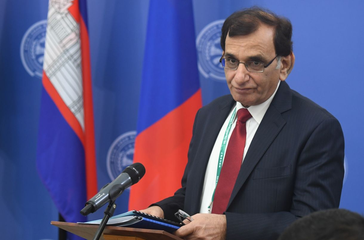 Judge of the Supreme Court of Pakistan Manzoor Ahmad Malik speaking at the opening of the 14th Meeting of Supreme Court Chief Justices of the Shanghai Cooperation Organisation (SCO) Member States.