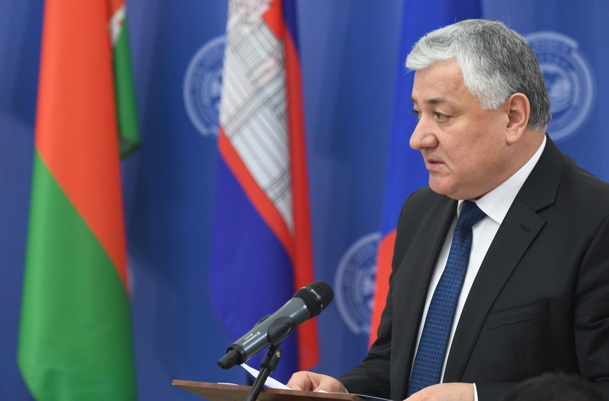 Chief Justice of the Supreme Court of Tajikistan Shermuhammad Shokhiyon speaking at the opening of the 14th Meeting of Supreme Court Chief Justices of the Shanghai Cooperation Organisation (SCO) Member States.